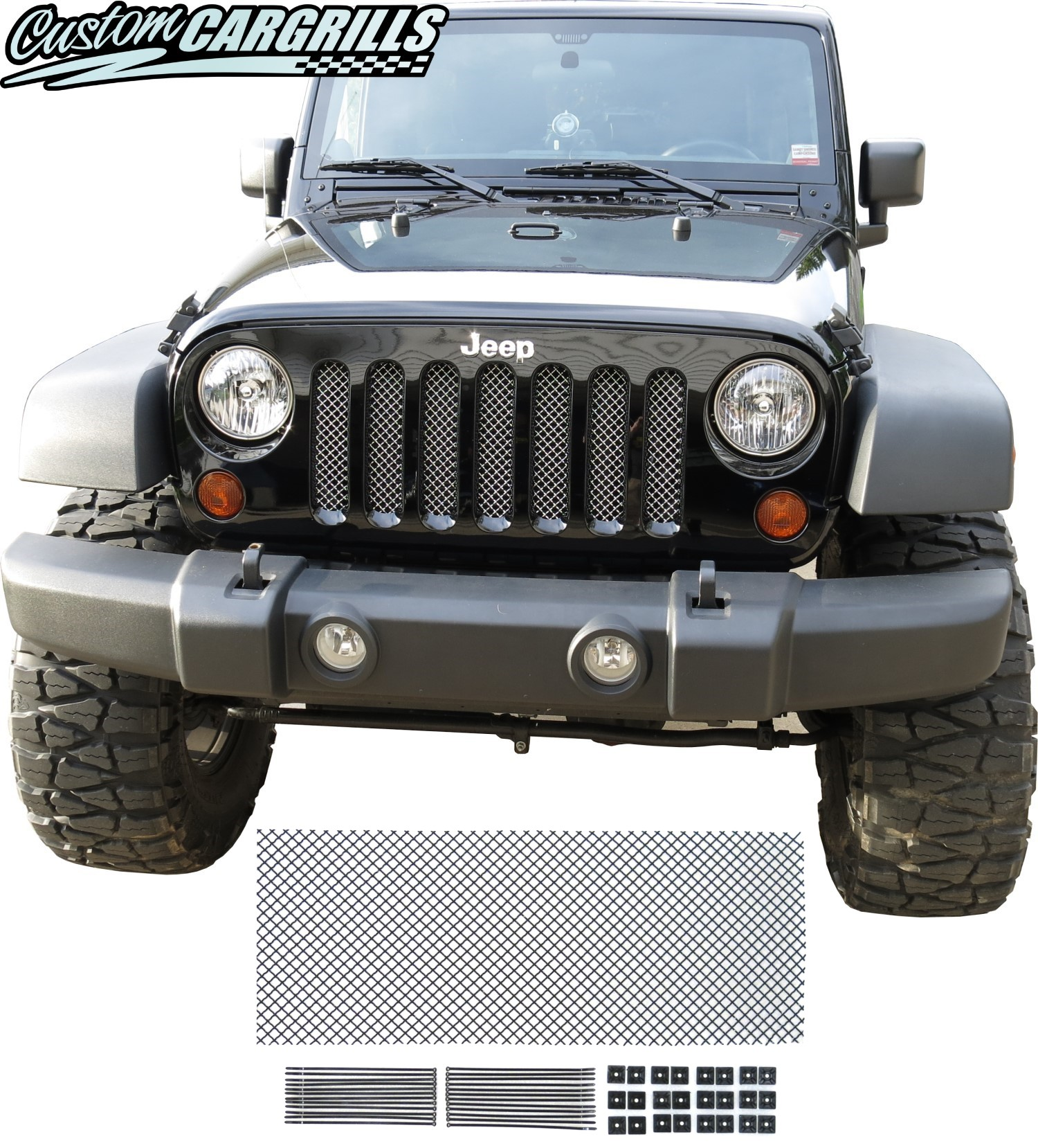 Mesh Grill Kit For 2007-17 Jeep Wrangler JK