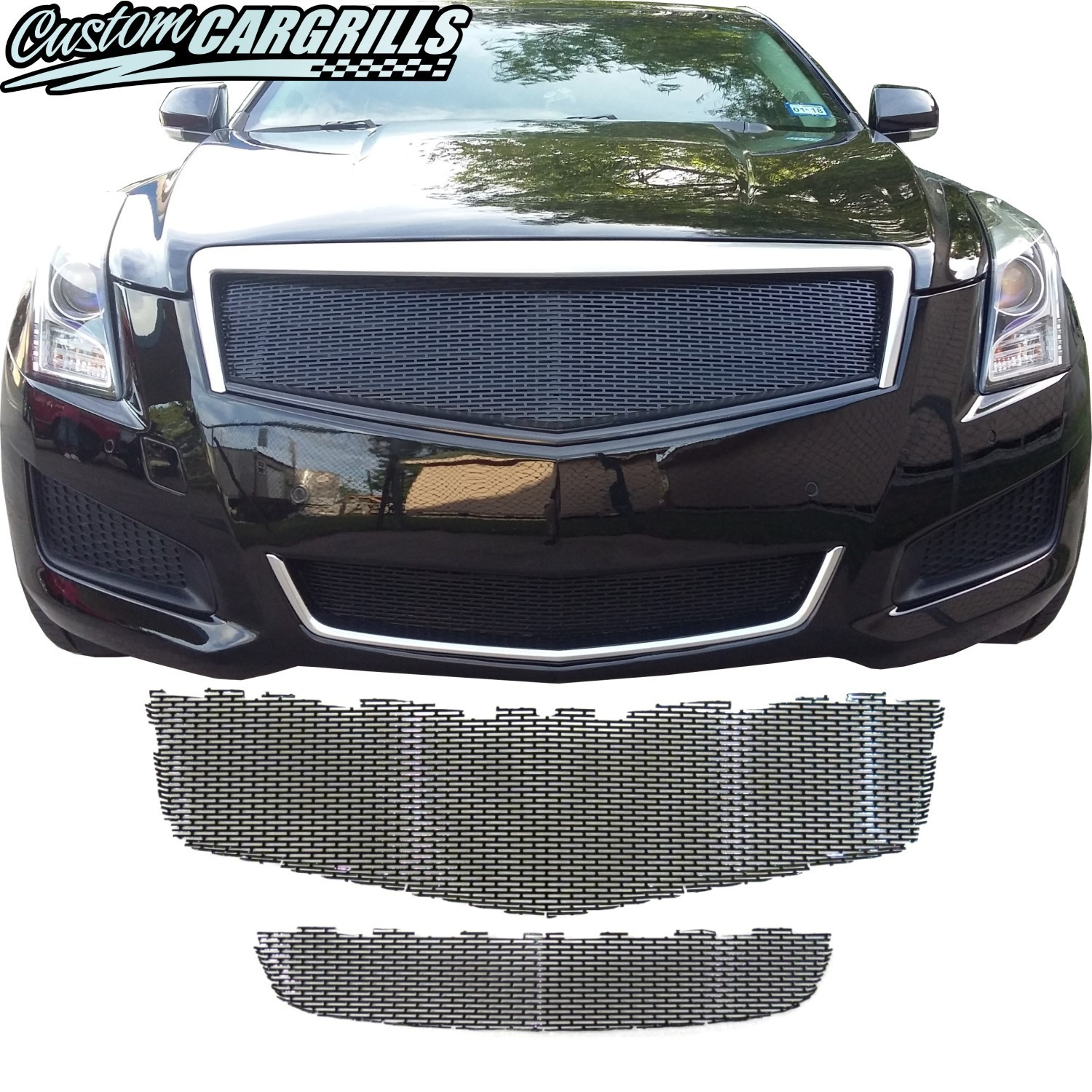 2013 - 2014 Cadillac ATS Top and Bottom Grill Mesh Set