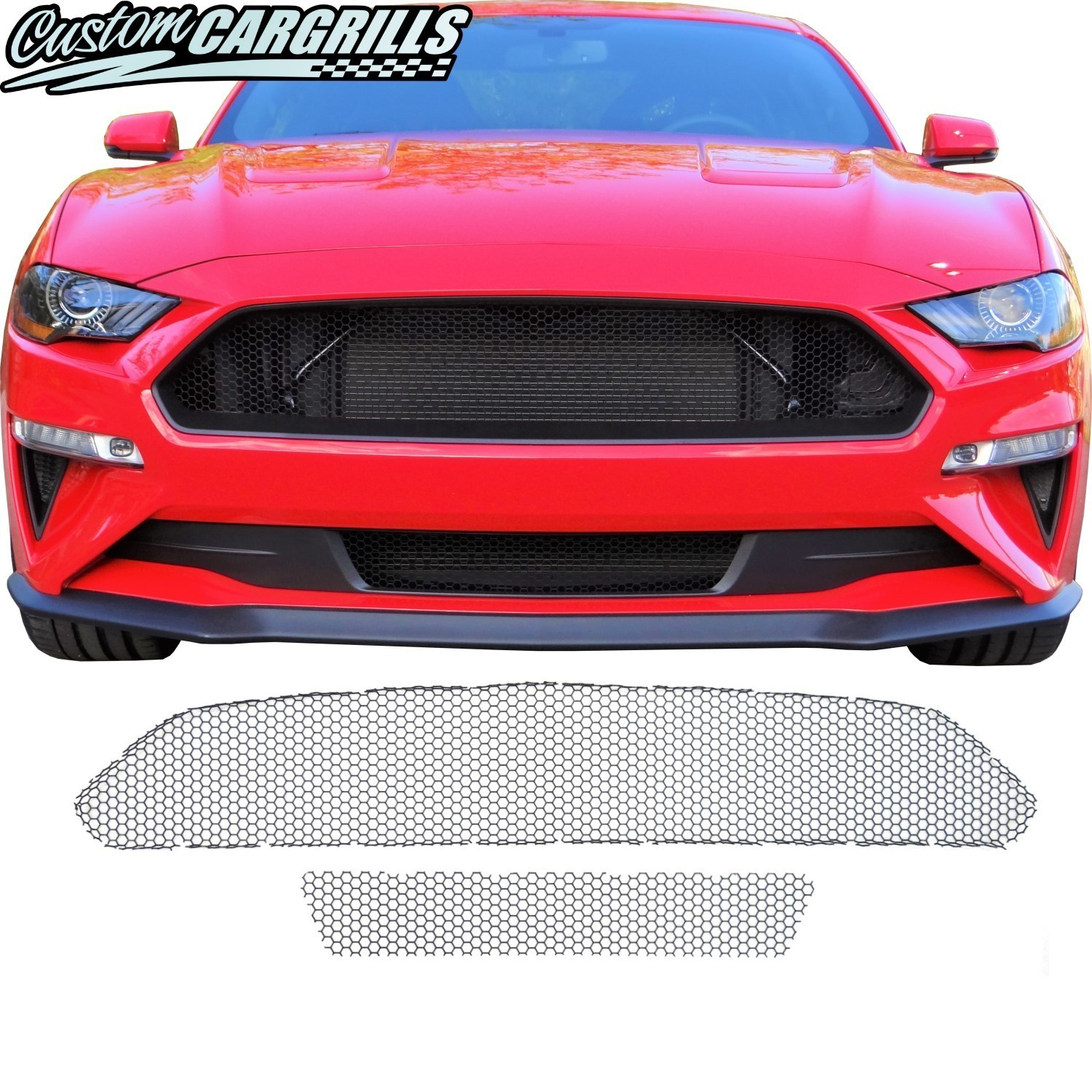 Honeycomb Mesh Grill Kit For 2018 2019 Ford Mustang Ecoboost