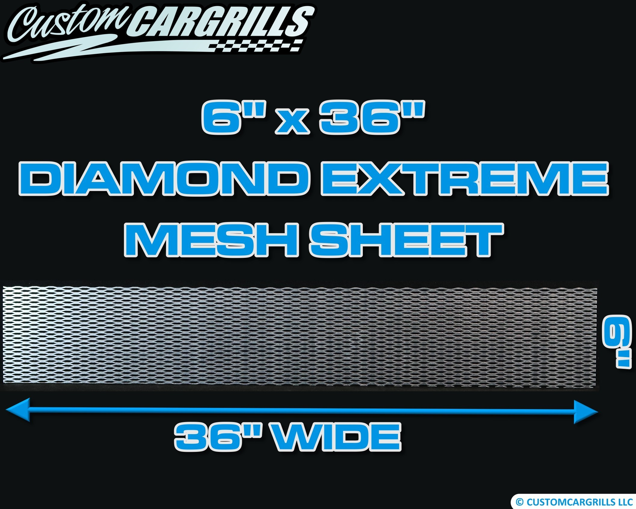 6in. x 36in. Diamond Extreme Grill Mesh Sheet - Silver #4