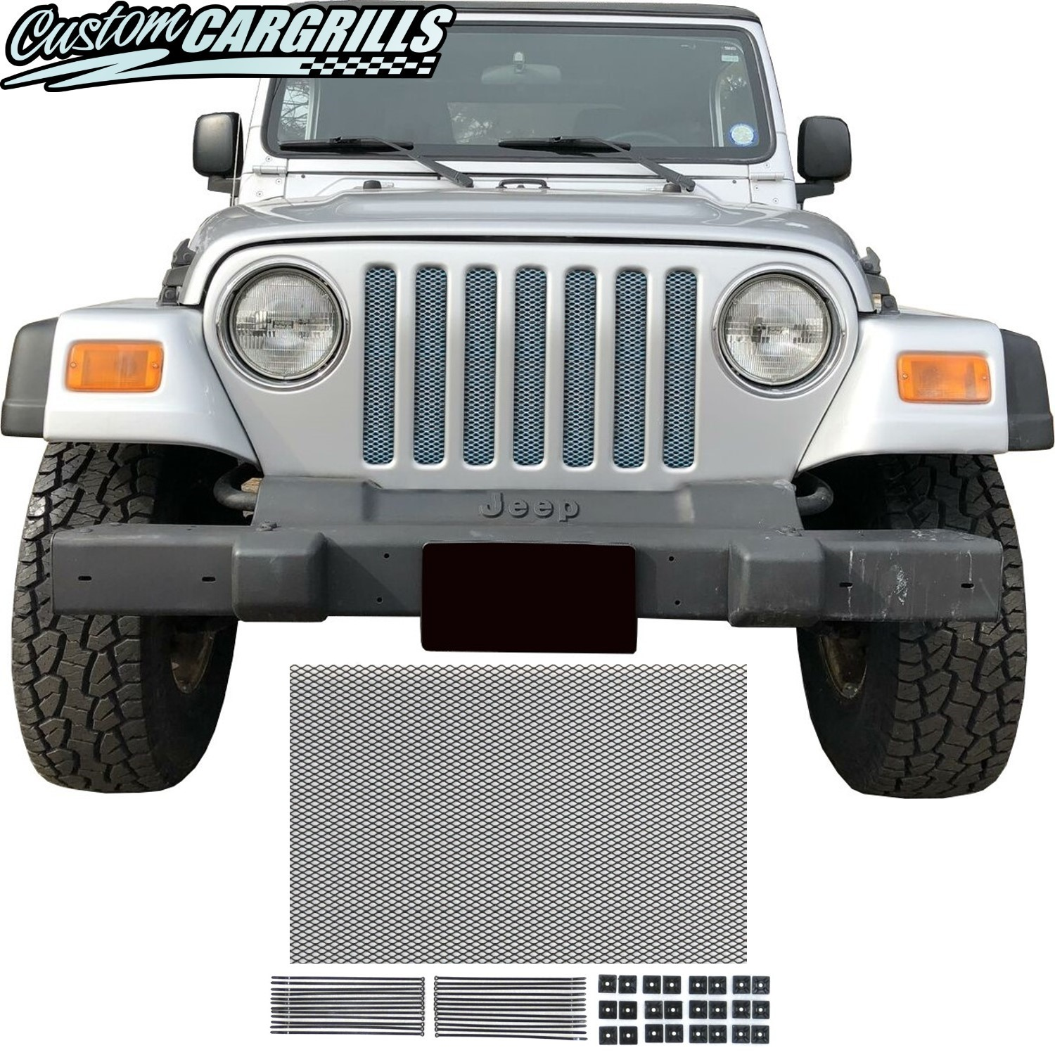 Mesh Grill Kit For 1997 - 2006 Jeep Wrangler TJ