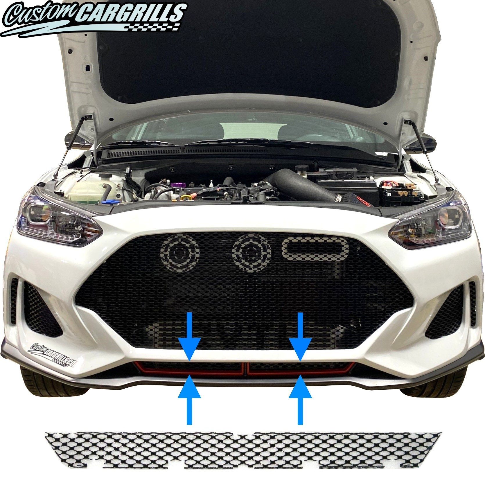 "2019 - 2020 Hyundai Veloster (Non ""N"" Version) Lower Grill Mesh Piece"