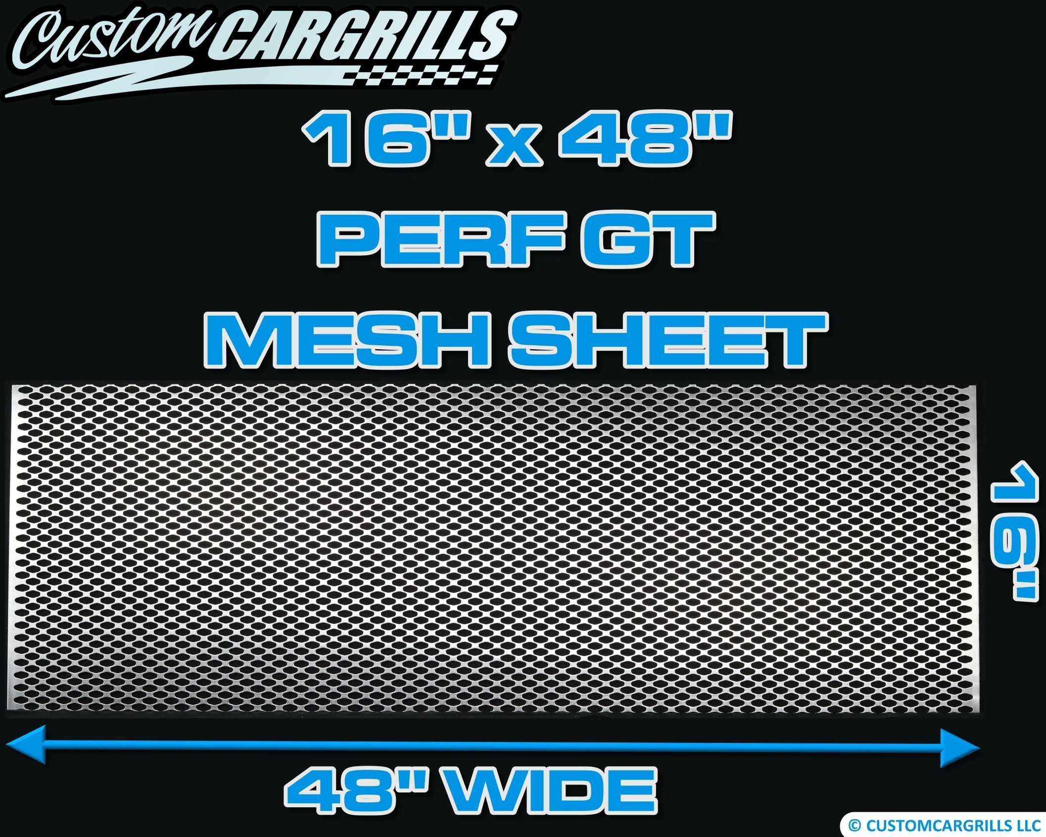 16in. x 48in. Perforated GT Grill Mesh Sheet - Silver #4