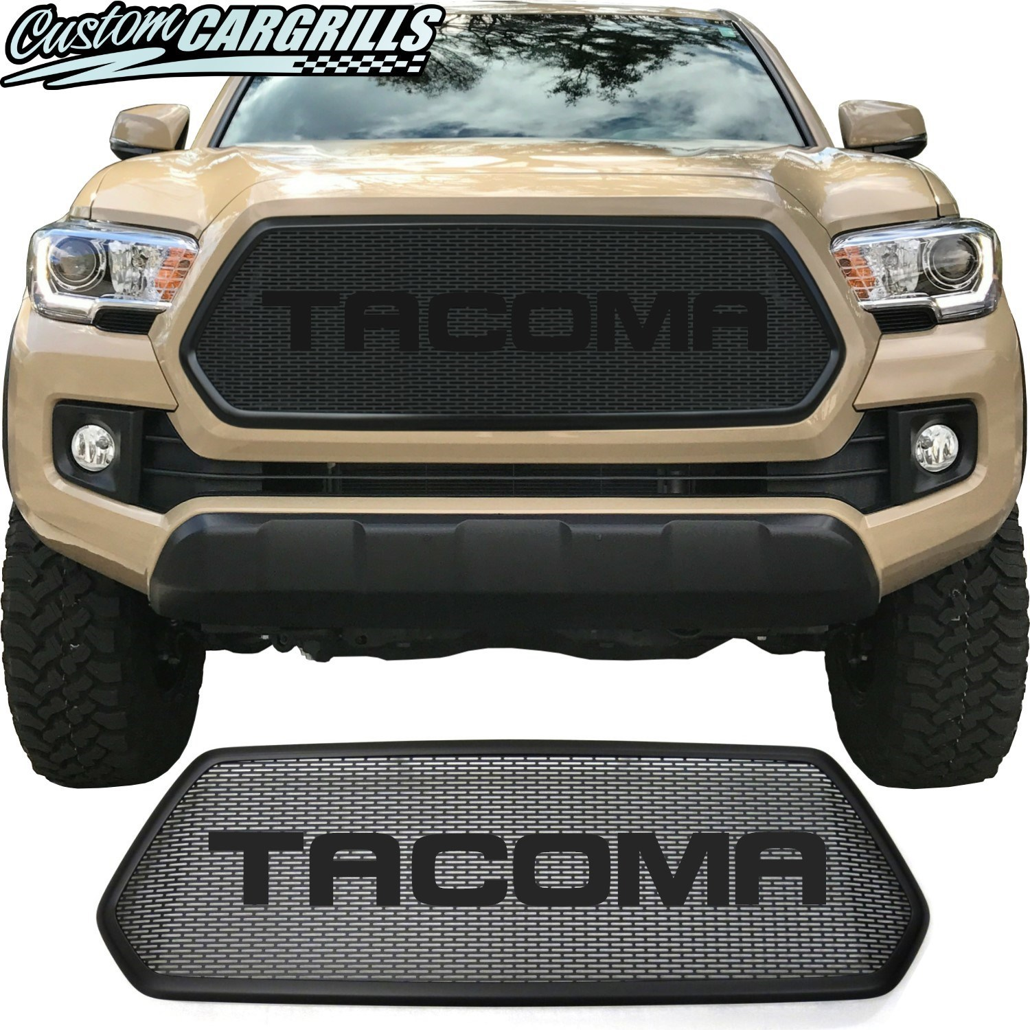 2016 - 2017 Toyota Tacoma Mesh Grill with Bezel and Round Lettering