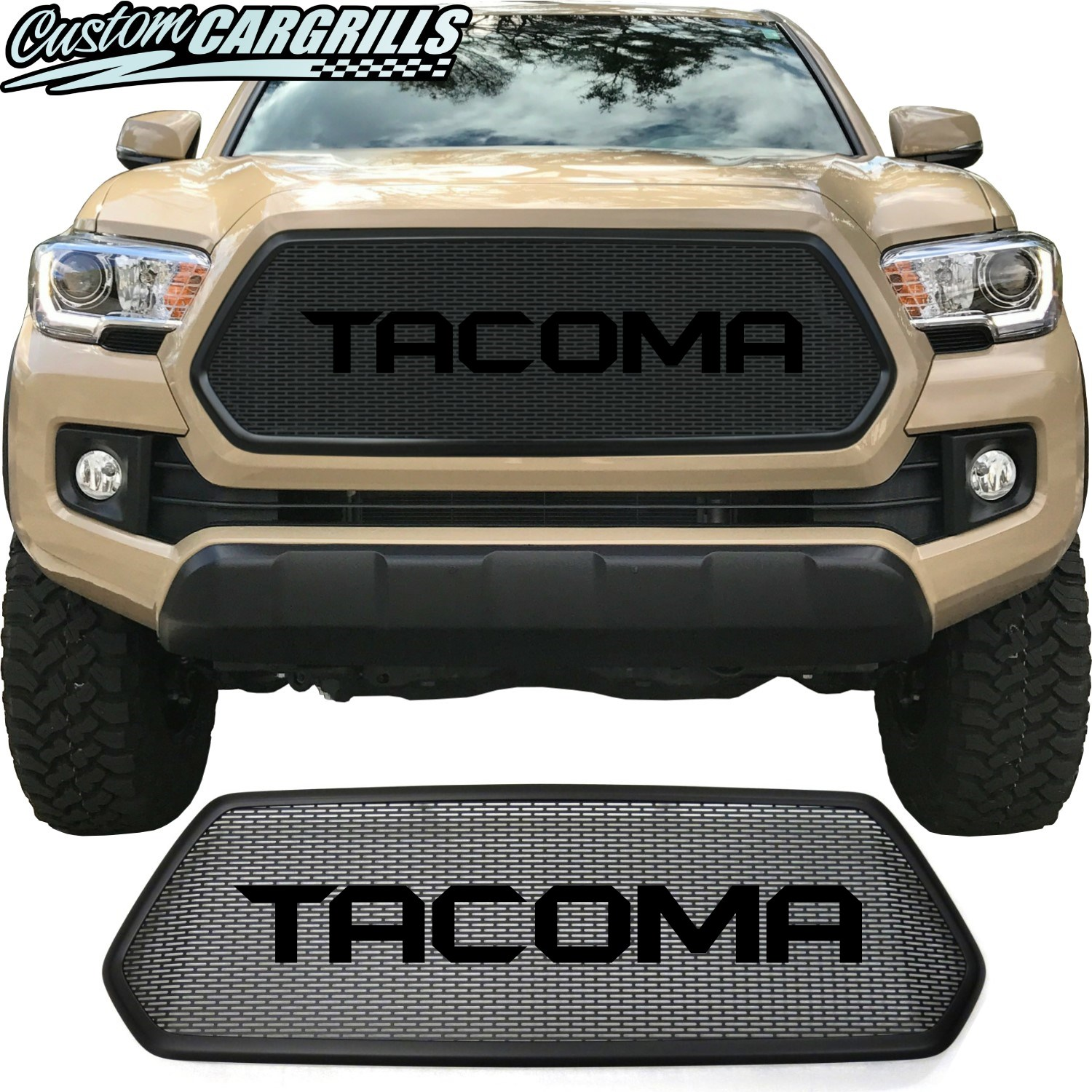 2016 - 2017 Toyota Tacoma Mesh Grill with Bezel and Sharp Letters