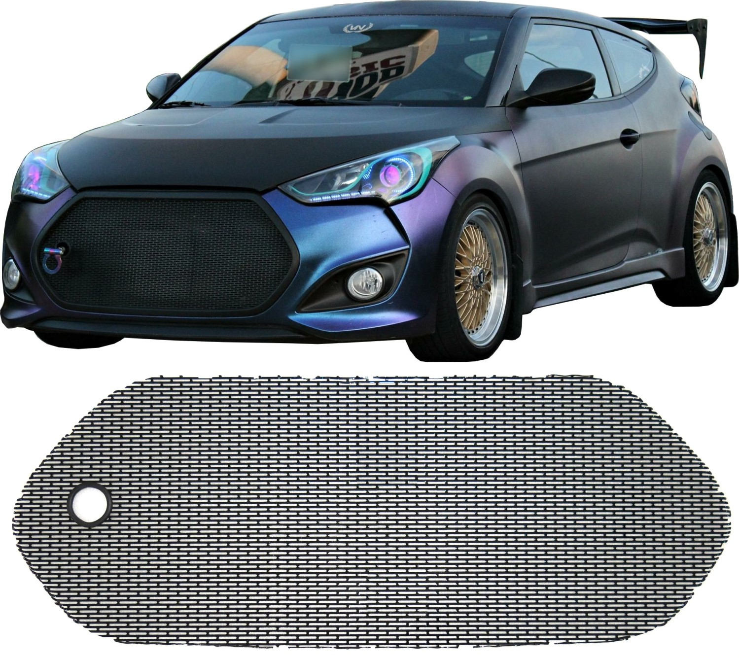 12 Hyundai Veloster: CCG PERF SS MESH GRILL GRILLE & TOW HOOK HOLE FOR A 12-17