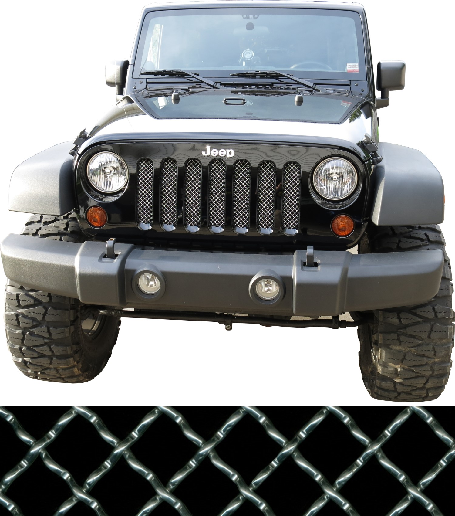 07-17 Jeep Wrangler JK Woven Wire Grill Mesh Kit