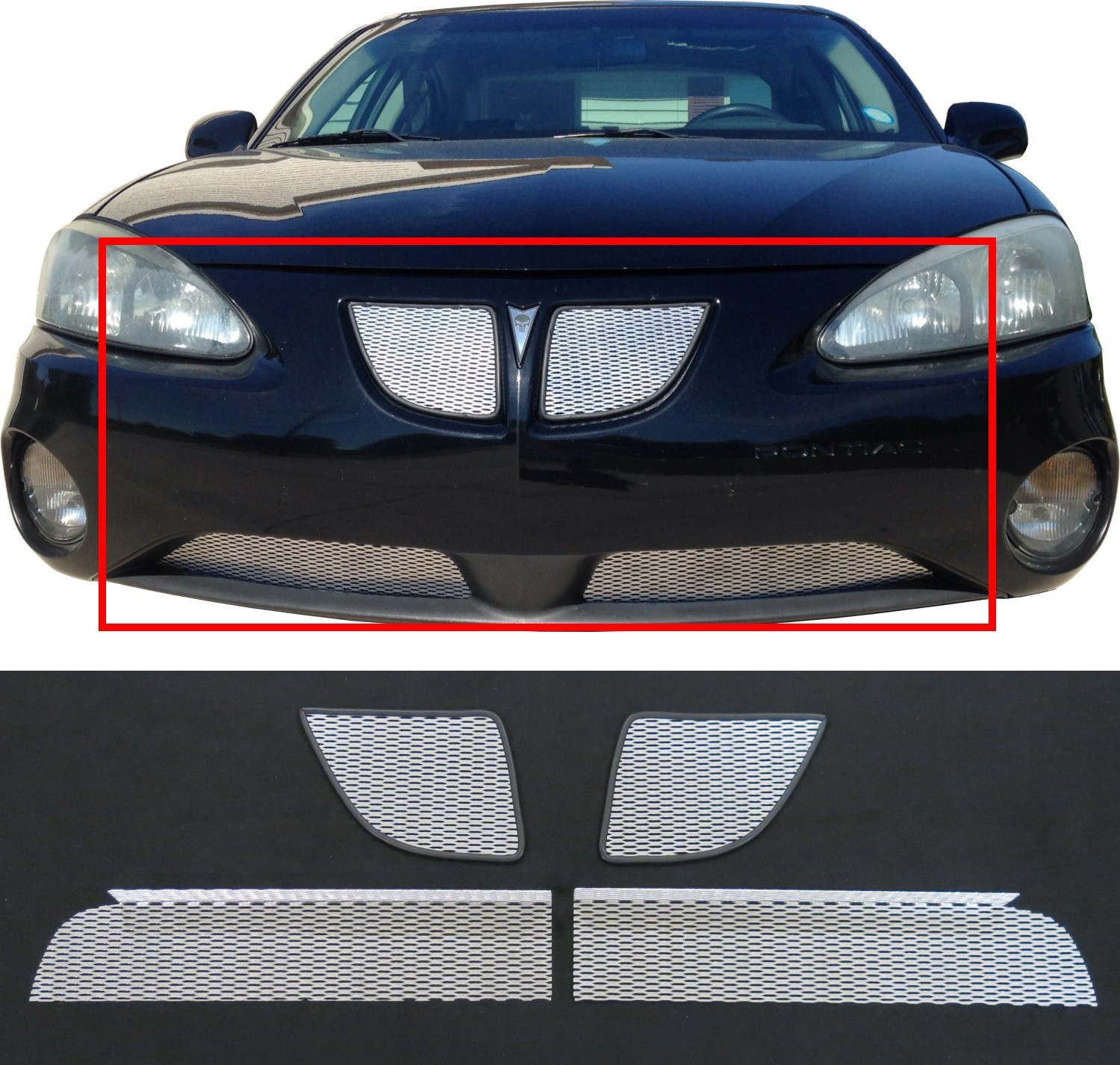 ccg 04 08 pontiac grand prix gtp diamond mesh grill grille inserts 4 pcs silver 701327257756 ebay. Black Bedroom Furniture Sets. Home Design Ideas